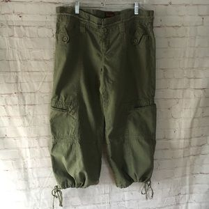 Be Bop army green olive linen cotton crop pants 13